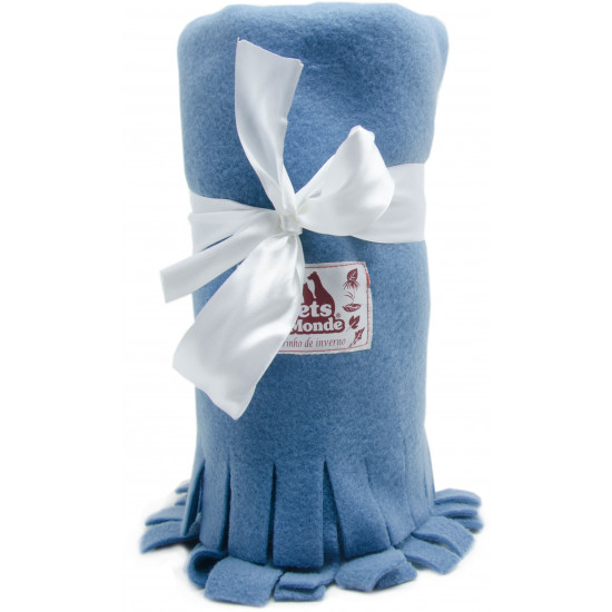 cobertor para cachorro em soft azul jeans