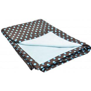 Cobertor pet - Poá marrom com azul